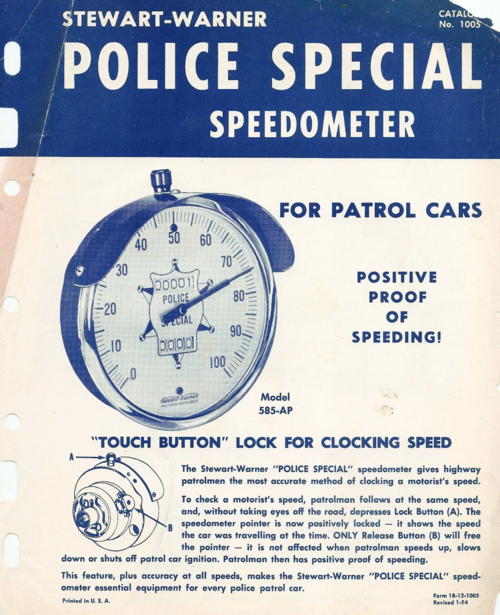 Stewart Warner Police Special Speedometer