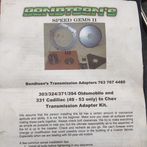 Bendtsens Transmission Adapter Oldsmobile